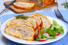 Chicken mushrooms Meatloaf with fresh salad Royalty Free Stock Photography