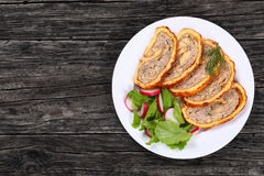 Chicken mushrooms Meatloaf with fresh salad Royalty Free Stock Image