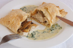 Chicken with mushrooms in puff pastry with cream sauce Stock Photos