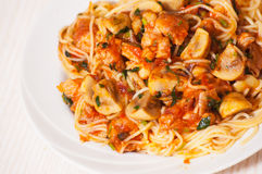 Chicken and mushrooms in tomato sauce with spaghetti Royalty Free Stock Images