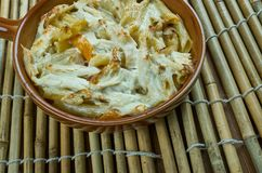 Chicken Mustard Pasta Bake. Creamy one dish meal made with three kinds of cheese Stock Images