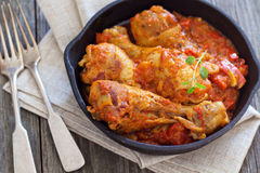 Chicken with mustard and red peppers Stock Photography