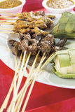 Chicken Mutton Satay with Ketupat and Peanut Sauce Royalty Free Stock Photos