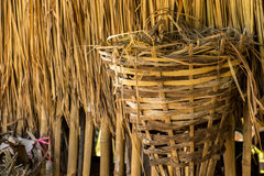 Chicken nests, leaves of brown, roof, bamboo. Royalty Free Stock Image