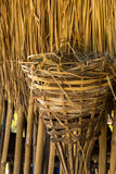 Chicken nests, leaves of brown, roof, bamboo. Royalty Free Stock Photography