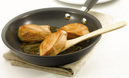 Chicken in non stick pan Stock Photography
