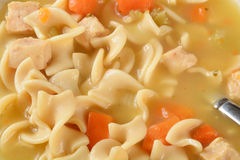 Chicken noodel soup background Royalty Free Stock Image