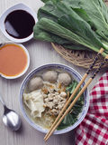 Chicken Noodle with Meatballs. Tasty asian chicken asian noodle with chopsticks Stock Images