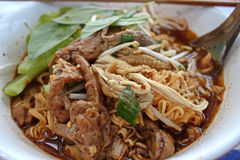 Chicken noodle. Put the herbs food Thailand Royalty Free Stock Image