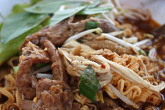 Chicken noodle. Put the herbs food Thailand Royalty Free Stock Photography
