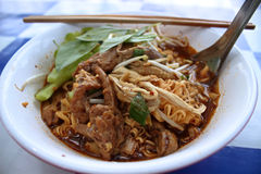 Chicken noodle. Put the herbs food Thailand Stock Images