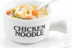 Chicken Noodle Soup. Is an all time favorite with the family, it is easy too, just open a can of your favorite variety Royalty Free Stock Images