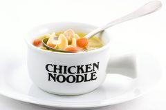 Chicken Noodle Soup. Is an all time favorite with the family, it is easy too, just open a can of your favorite variety Stock Photography
