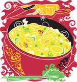 Chicken Noodle Soup. Stylized art of chicken noodle soup and ingredients Stock Photos