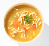 Chicken noodle soup. Bowl of chicken noodle soup Royalty Free Stock Images