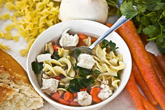 Chicken noodle soup. With fresh ingredients Stock Photography