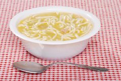 Chicken noodle soup in a bowl Royalty Free Stock Images