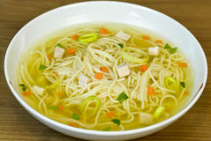 Chicken noodle soup in bowl Stock Photo