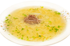 Chicken noodle soup - broth closeup Stock Image
