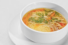 Chicken noodle soup - broth. Stock Photo