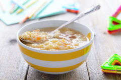 Chicken noodle soup for children nutrition Royalty Free Stock Images