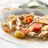 Chicken noodle soup closeup Stock Image