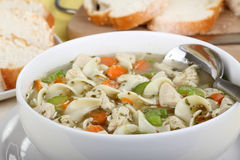 Chicken Noodle Soup Closeup royalty free stock image