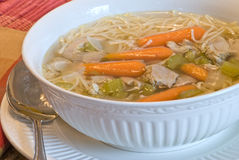 Chicken noodle soup on a cold winter's day Stock Photography