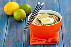 Chicken noodle soup with green onion, ginger, coriander and chili pepper. Asian cuisine. Royalty Free Stock Photography