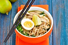 Chicken noodle soup with green onion, ginger, coriander and chili pepper. Asian cuisine. Royalty Free Stock Image