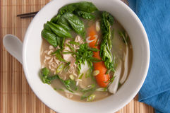 Chicken noodle soup with greens and ramen Royalty Free Stock Photography