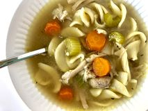 Chicken noodle soup. Homemade chicken noodle soup in a white bowl royalty free stock images