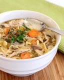 Chicken noodle soup. Hot and healthy bowl of chicken noodle soup Stock Photo