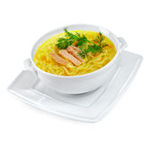 Chicken Noodle Soup isolated Royalty Free Stock Photos
