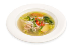 Chicken Noodle Soup isolated on white Royalty Free Stock Photography