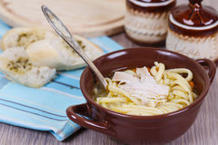 Chicken noodle soup Stock Image