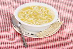 Free Chicken Noodle Soup With Spoon And Crackers Royalty Free Stock Photo - 11832685