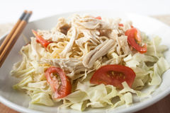 Chicken noodle spicy soup indonesia cuisine. Traditional food from indonesia, called mie jawa or java noodle. some noodle with cabbage, tomato, chicken, with royalty free stock images