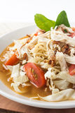 Chicken noodle spicy soup indonesia cuisine. Traditional food from indonesia, called mie jawa or java noodle. some noodle with cabbage, tomato, chicken, with royalty free stock photography