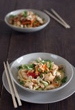 Chicken with noodles Royalty Free Stock Images