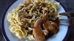 Chicken with Noodles. Cooking my Meal stock photography