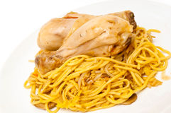 Chicken and noodles with sweet chilli sauce Stock Images