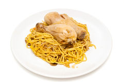 Chicken and noodles with sweet chilli sauce Stock Photography