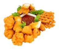 Chicken Nugget Bites And Lattice Fries stock photo