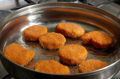 Chicken nuggets. Cooking chicken nuggets Stock Images