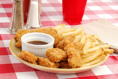 Chicken nuggets with barbeque sauce Royalty Free Stock Images