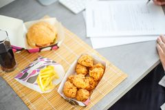 Chicken nuggets with burger and french potato Stock Image