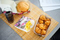 Chicken nuggets with burger and french potato Stock Images