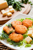 Chicken nuggets with cheese Royalty Free Stock Photo