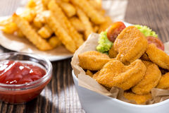Chicken Nuggets (with Chips) Stock Photo